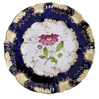 Samuel Alcock dessert plate, Horn of Plenty moulding with flower study, ca 1840 (2)