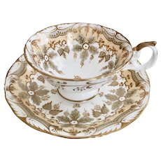 Samuel Alcock teacup and saucer, patt. 9624 Rococo Revival ca 1845