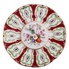 Samuel Alcock plate, flame pattern 3/925, ca 1850