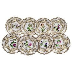 Samuel Alcock set of 8 dessert plates, superb flowers, 1835-1840