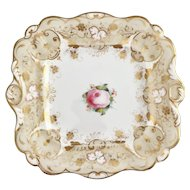 Antique dinner plate/tureen stand, Rococo Revival ca 1845, hand painted rose
