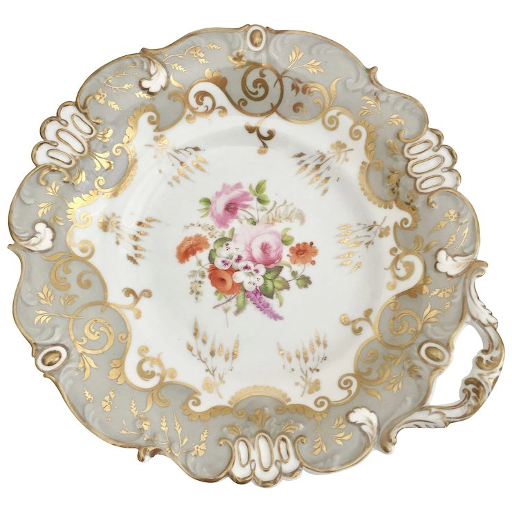 Antique dinner plate Rococo Revival period ca 1845 moulded and hand painted  sc 1 st  Ruby Lane : antique dinner plate - pezcame.com