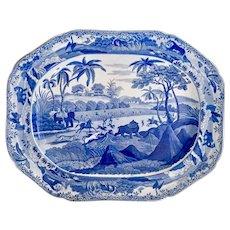 Staffordshire pearlware meat platter, Bear Hunt pattern Spode imitation, ca 1820