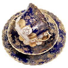 Aynsley teacup trio, cobalt blue with tooled gilt and silver, 1891-1912