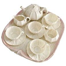 Belleek cabaret tea set for four, Tridacna pink and cream 2nd Black Mark