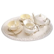 Rare Belleek cabaret set for two, cream Echinus, 1st BM and 3rdGM