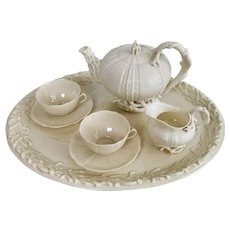 Belleek cabaret set, cream Echinus, 1867-1926