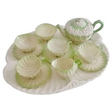 Rare Belleek cabaret set, green Neptune 2nd BM, perfect condition