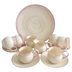Beautiful Belleek part tea set for six, pink Thistle, Gold Mark, mint condition