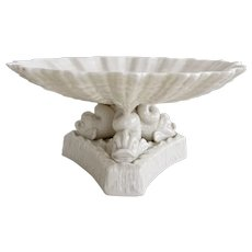 Belleek low comport, white parian shell carried by dolphins, 1863-1890