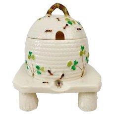 Belleek lidded honey pot, Shamrock, 2nd BM 1891-1926