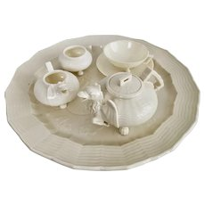 Rare Belleek cabaret set for one, Chinese Dragon, 1BM 1863-1891