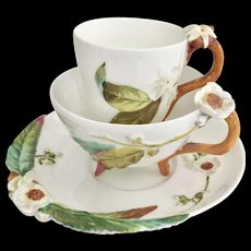 Extremely rare Brownfield tea/coffee trio, patt 1311 moulded blossoms, 1875