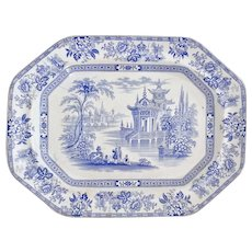 """Wood & Brownfield meat platter, blue and white transfer """"Madras"""" 1841-1850"""