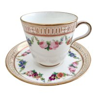 Mid-Victorian teacup and saucer, Brown-Westhead & Moore, 1872