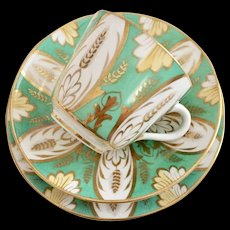 Brown-Westhead & Moore teacup and saucer, green acanthus patt 2406, 1860s