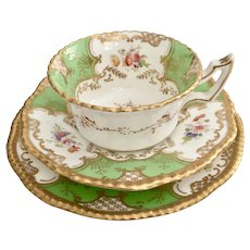 "Coalport teacup trio, ""Batwing"" apple green patt. Y2665, 1891-1920"