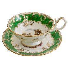 Coalport teacup, Adelaide shape, green with landscapes 2/919, ca 1840