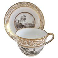 Antique John Rose Coalport teacup with batprint rural scenes, ca 1805
