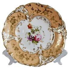 Coalport dessert plate, pierced rim and hand painted flowers, ca 1835