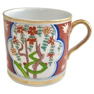 Coalport orphaned coffee can with Dollar pattern, ca 1805