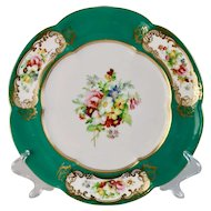 Coalport dessert plate, 6-lobed teal with hand painted flowers, ca 1860