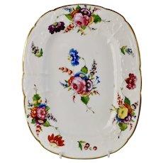 Coalport dessert dish, Swansea style flowers and C-scroll moulding, ca 1820