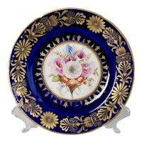 Coalport John Rose plate, Cobalt blue with sublime flowers and gilt, ca 1800