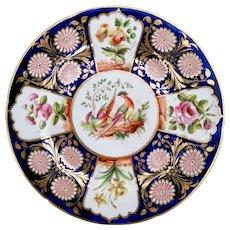 John Rose Coalport plate with birds and flowers, ca 1815