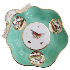 John Rose Coalport shell dish, birds and butterflies, ca 1820