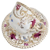 Coalport coffee cup and saucer, Pembroke shape patt 2/41 maroon flowers, 1820-1825