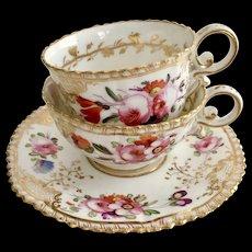 Coalport tea/coffee cup trio, hand painted flowers patt 966 on Pembroke shape, 1820-1825