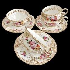 Coalport part tea set, hand painted flowers patt 966 on Pembroke shape, 1820-1825