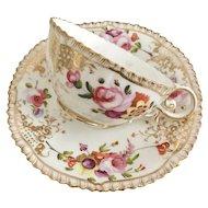 Coalport teacup and saucer (1), hand painted flowers patt 966 on Pembroke shape, 1820-1825