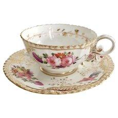 Coalport teacup and saucer (2), hand painted flowers patt 966 on Pembroke shape 1820-1825