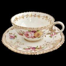 Coalport teacup and saucer (2), hand painted flowers patt 966 on Pembroke shape, 1820-1825