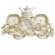 Stunning Coalport tea service, Adelaide shape with Duck Spout teapot, ca 1835