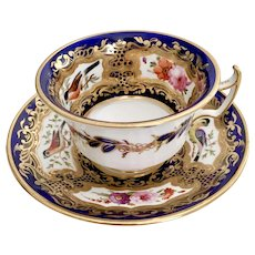 Stunning Coalport teacup and saucer, birds patt. 759, 1820-1825