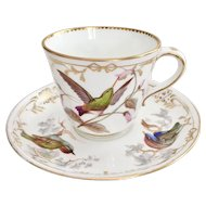 Rare Coalport teacup, hand painted birds by John Randall, 1868