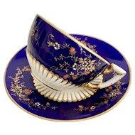 "Coalport ""Japonism"" teacup and saucer, cobalt blue and blossoms, 1885"
