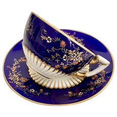 "Coalport ""Japonism"" teacup and saucer, cobalt blue and blossoms, 1885"