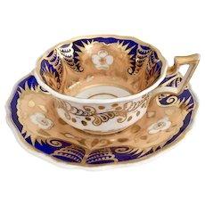 Ridgway teacup and saucer, cobalt blue, salmon and gilt patt 2/1216, ca 1825