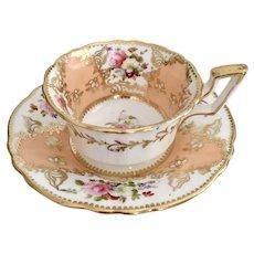 Coalport teacup and saucer, early Batwing design, ca 1825