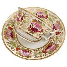 Coalport teacup and saucer, Derby-like pattern on London shape, ca 1815