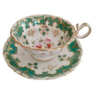 Coalport teacup and saucer, Adelaide shape, hand painted flowers 4/984, ca 1840