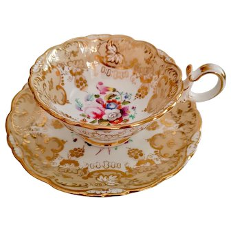 Coalport teacup and saucer, Adelaide shape, hand painted flowers 3/265, ca 1840