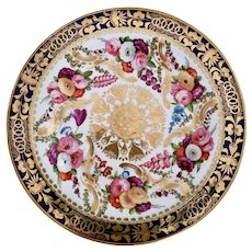 Coalport plate, rich gilt and hand painted flowers, ca 1825