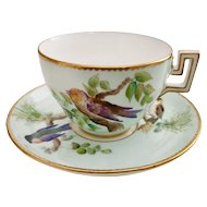 Coalport teacup and saucer, hand painted birds on duck egg blue, ca 1870