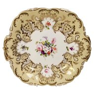 Coalport cake plate, Adelaide shape and hand painted flowers 3/577, ca 1840