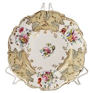 Coalport dessert plate, beige with printed and hand coloured flowers, ca 1840